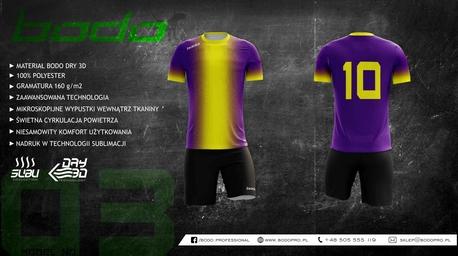 Strój sportowy BODO KING sublimacja fiolet/żółty (1)