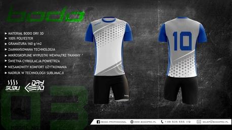 Komplet sportowy BODO ALPHA 3d biały/popiel/niebieski (1)