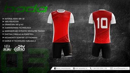 Strój sportowy BODO ALPHA 3d czerwony/ciemna czeriwień/biały (1)